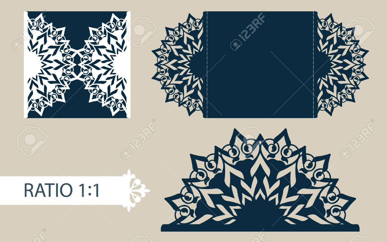layout congratulatory envelope with carved openwork pattern