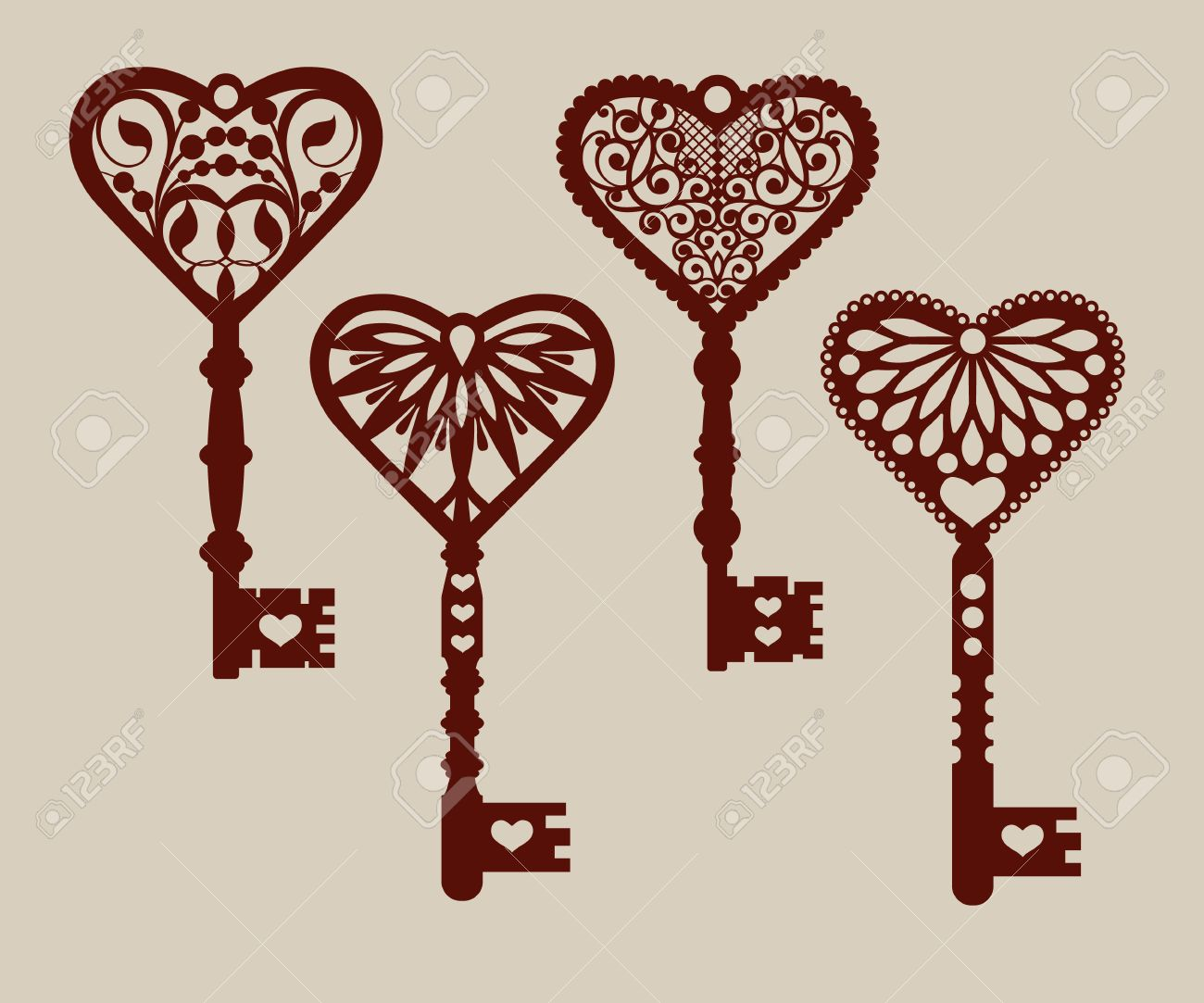 Collection Of Templates Of Decorative Keys For Laser Cutting ...