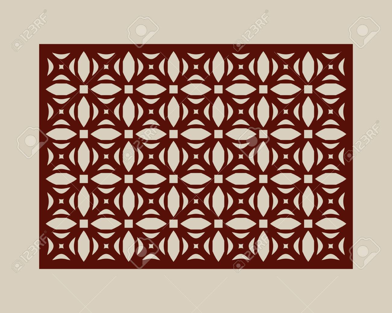 Geometric ornament. The template pattern for decorative panel. A picture suitable for paper cutting, printing, laser cutting or engraving wood, metal. Stencil manufacturing. Vector - 65452603
