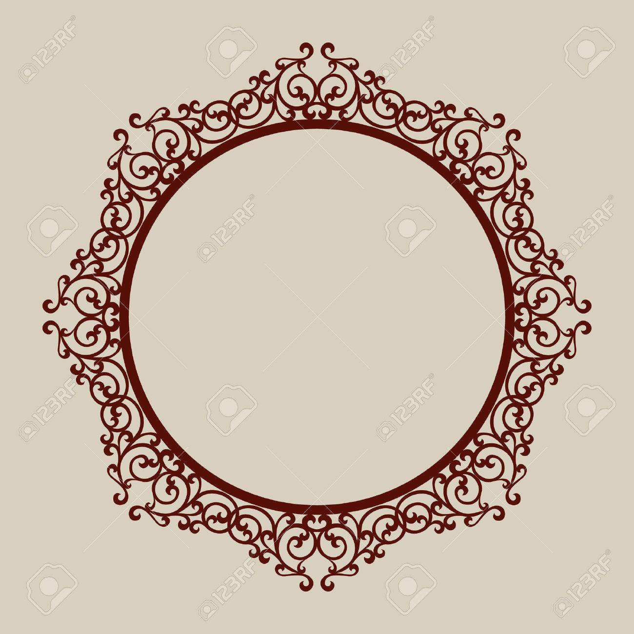 abstract round frame with swirls template for laser cutting