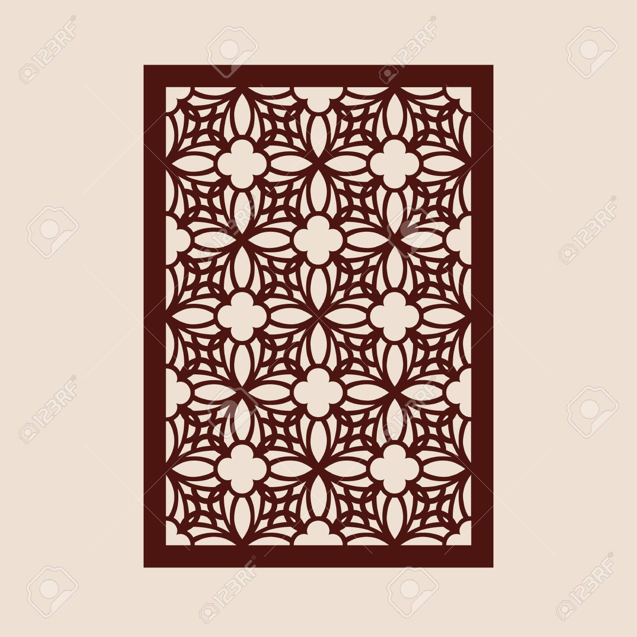 Floral geometric ornament. The template pattern for decorative panel. A picture suitable for paper cutting, printing, laser cutting or engraving wood, metal. Stencil manufacturing. Vector - 143968109
