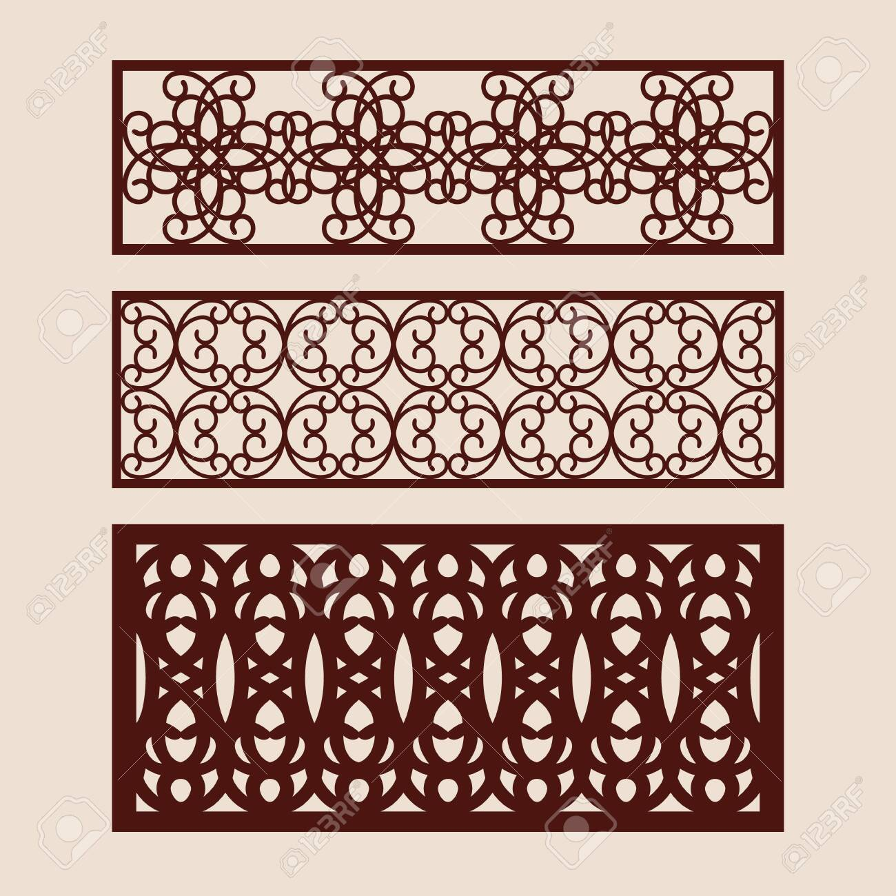 Set floral geometric ornaments. Collection of decorative panel templates. The drawing is suitable for cutting paper, printing, laser cutting or engraving wood, metal. Manufacturer of stencils. Vector - 143967946