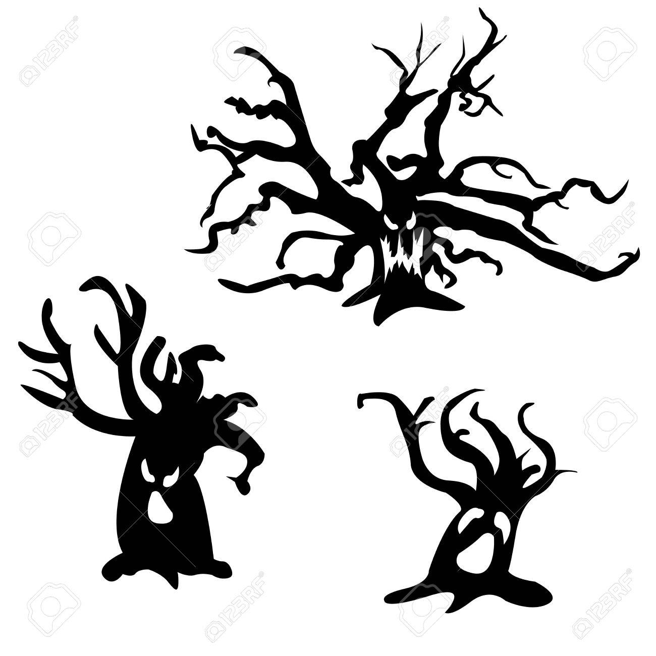 set of halloween vector scary trees black illustration ghost rh 123rf com Ghost Clip Art Black and White Scared Ghost Clip Art