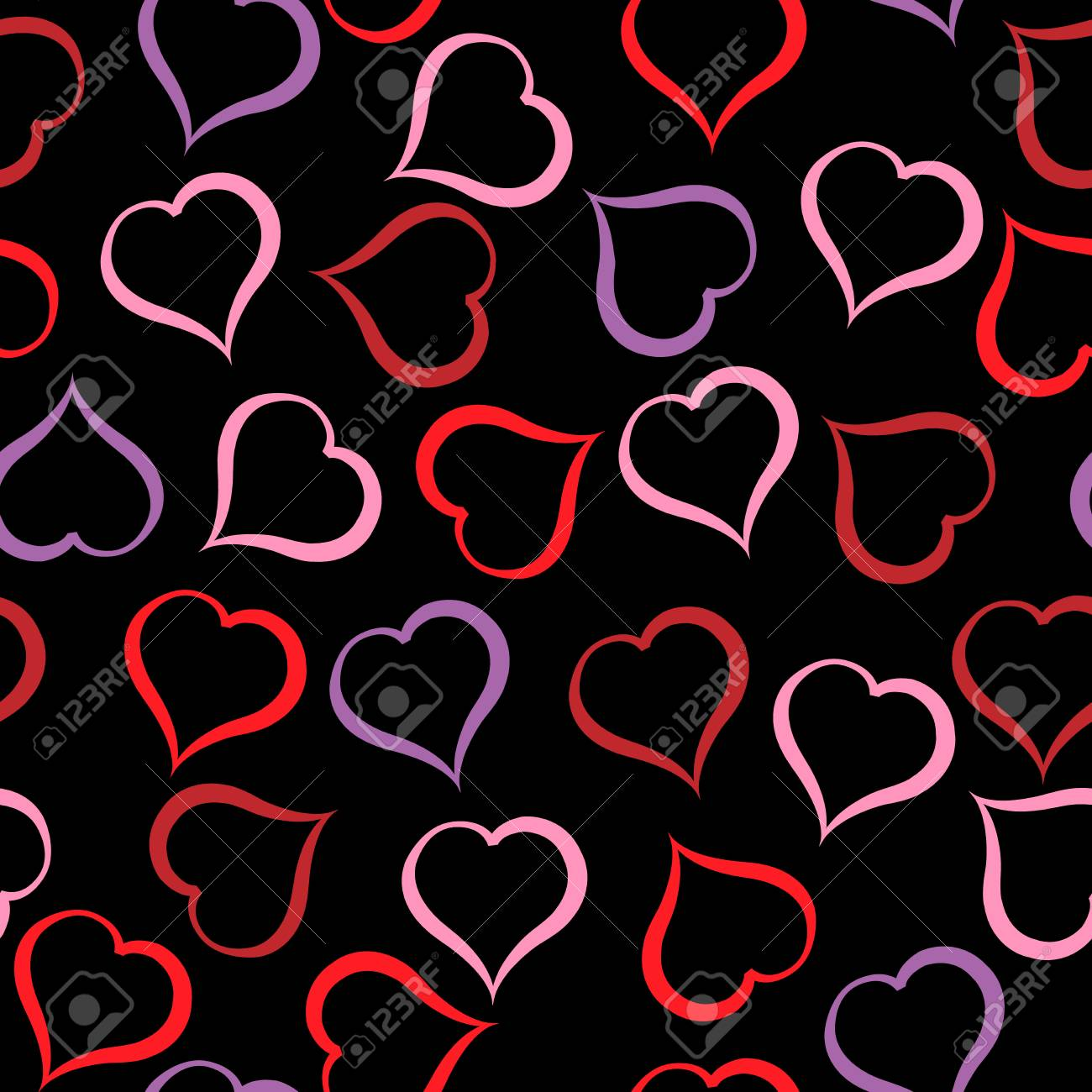 Different Colour Hearts Pattern On Black Background Royalty Free Cliparts Vectors And Stock Illustration Image 69259650