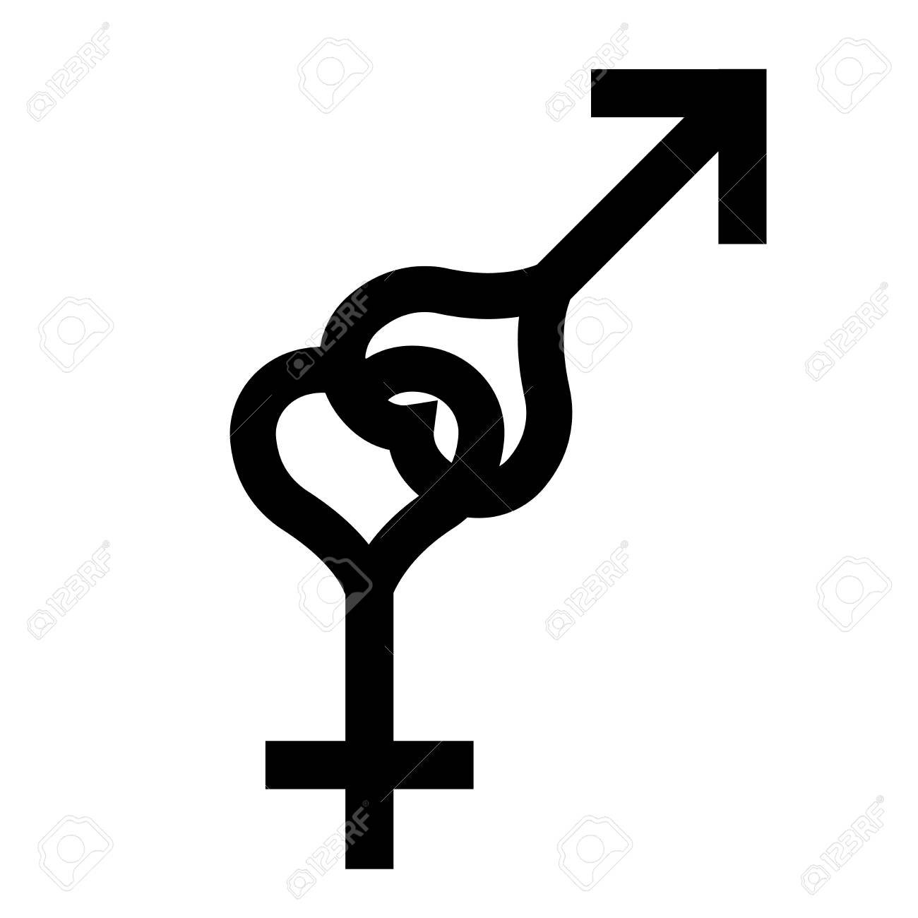 Símbolo Del Corazón Negro Del Sexo Símbolo De Hombre Y Mujer De