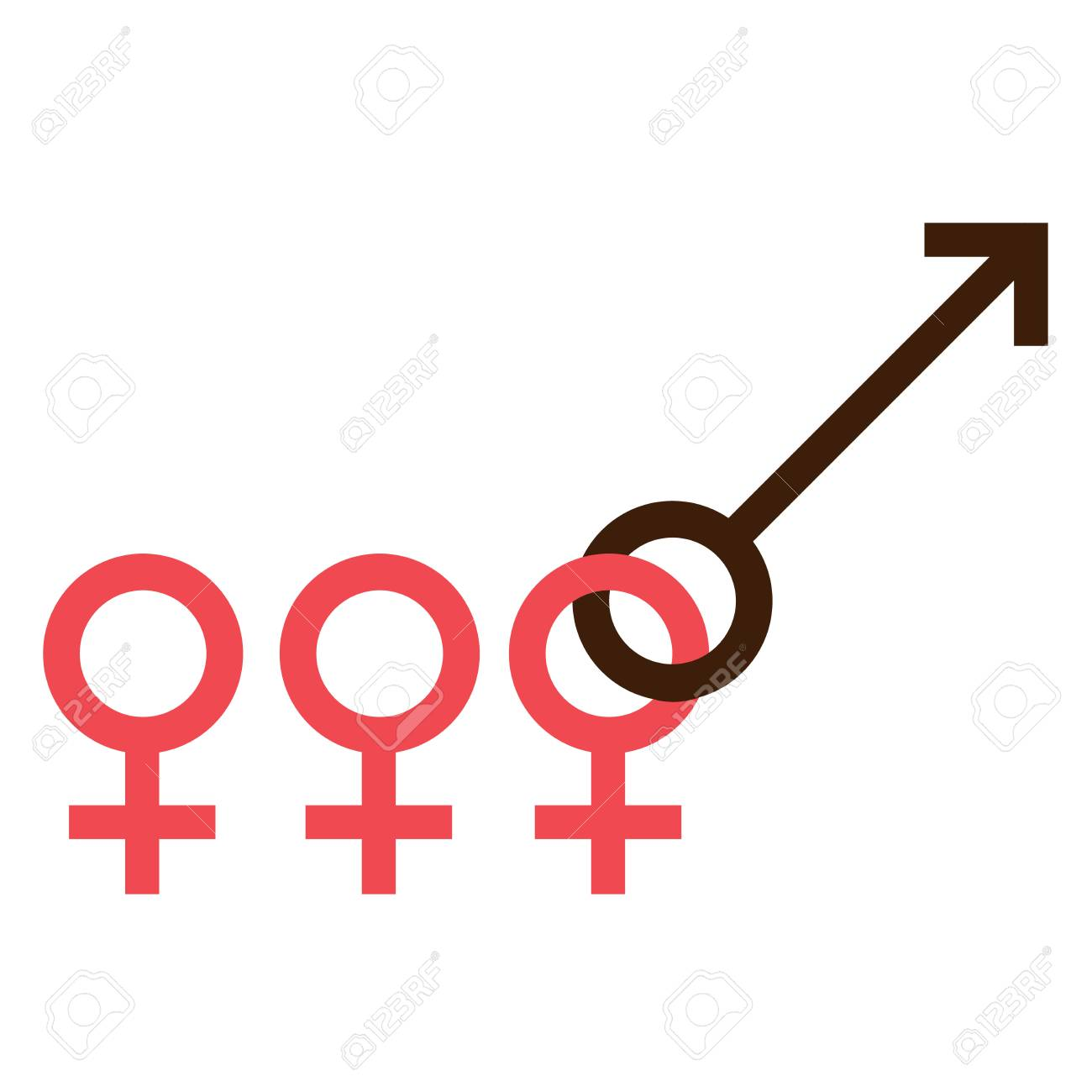 Sex Symbol Gender Man And Woman Interracial Queue Connected