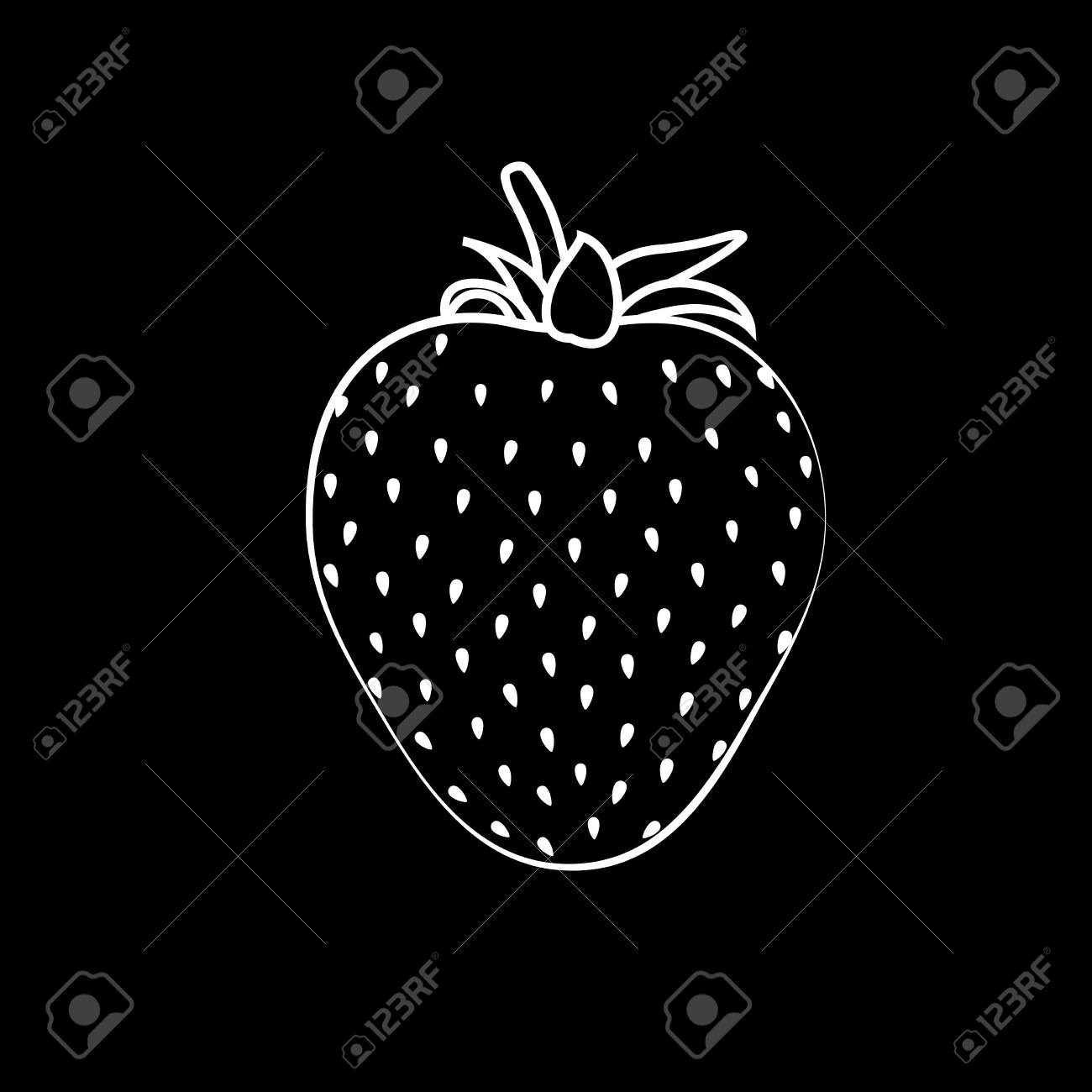 Beautiful black strawberry silhouette with white stroke vector illustration black background stock vector