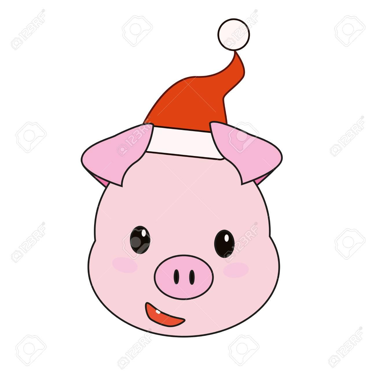 Christmas Pig.Christmas Pink Pig In A Santa Hat