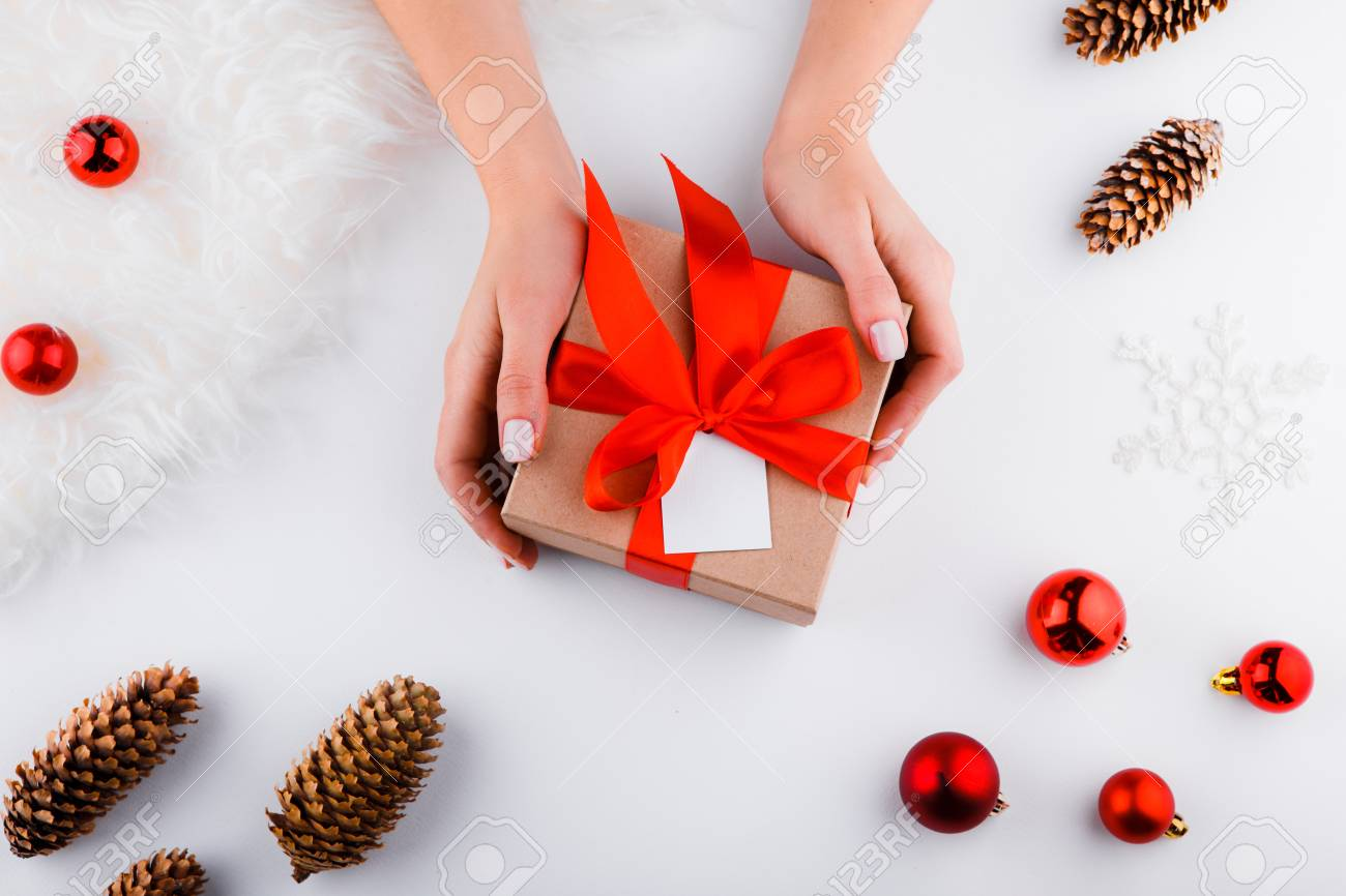 Gift Wrapping. Packaging Modern Christmas Present Boxes In Stylish ...