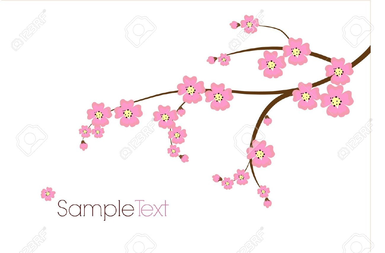 Postcard with Japanese branch Stock Vector - 18759770