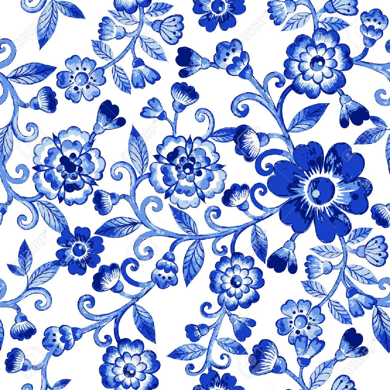 Vector floral watercolor texture pattern with blue flowers.Watercolor floral pattern.Blue flowers pattern.Seamless pattern can be used for wallpaper,pattern fills,web page background,surface textures - 50560696
