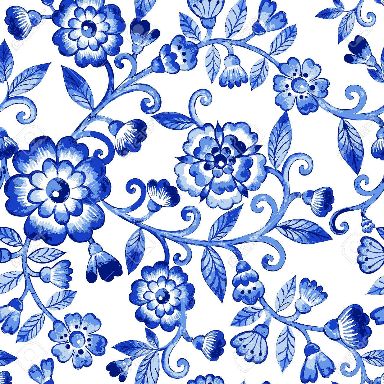 Watercolor Floral PatternBlue Flowers PatternSeamless Pattern Can Be Used For Wallpaperpattern Fillsweb Page Backgroundsurface Textures
