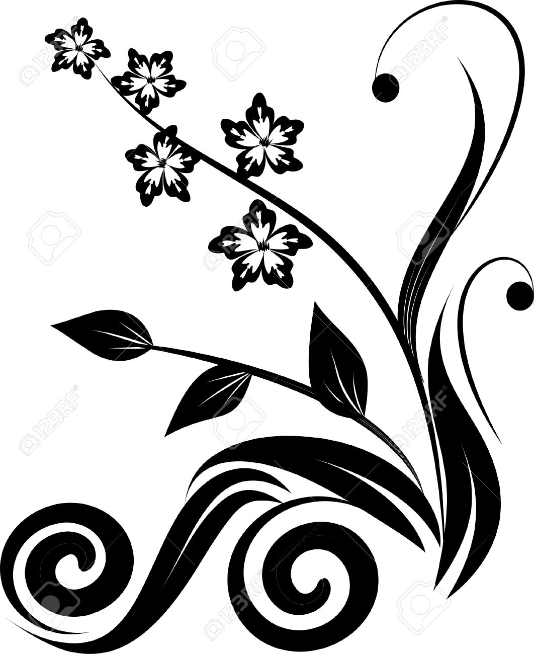 Flower Vector Black And White Corner Floral Corner Black Vector