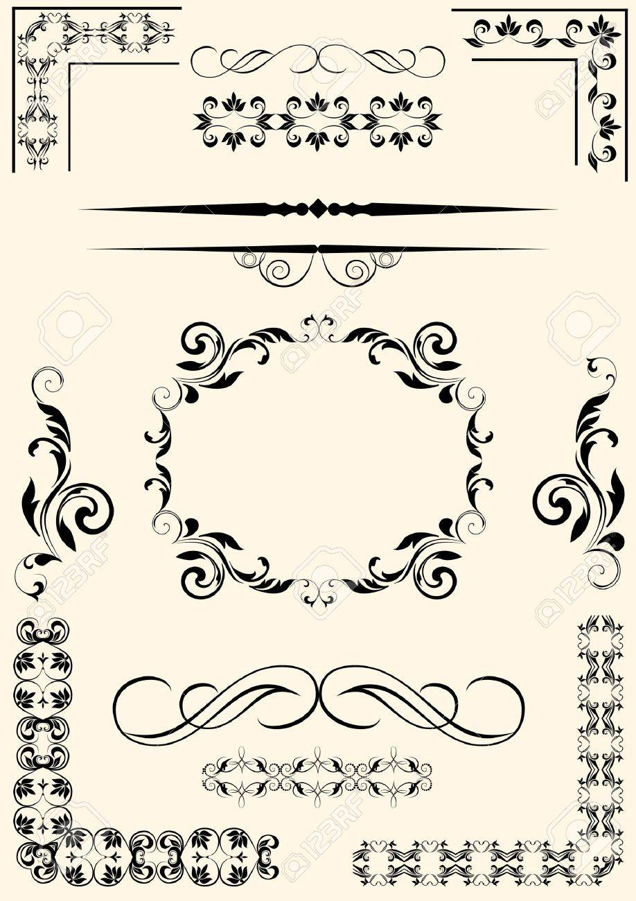 Set of dividers, corners and scrolls Stock Vector - 16217639