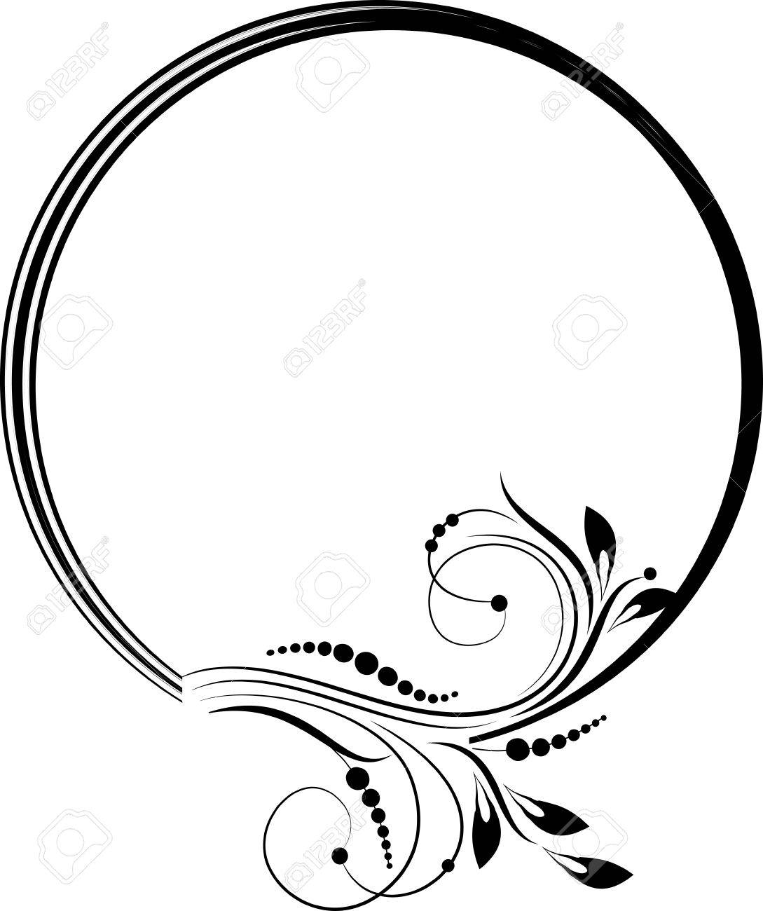 Round frame with decorative branch vector illustration stock - Round Frame With Decorative Branch Stock Vector 23012474