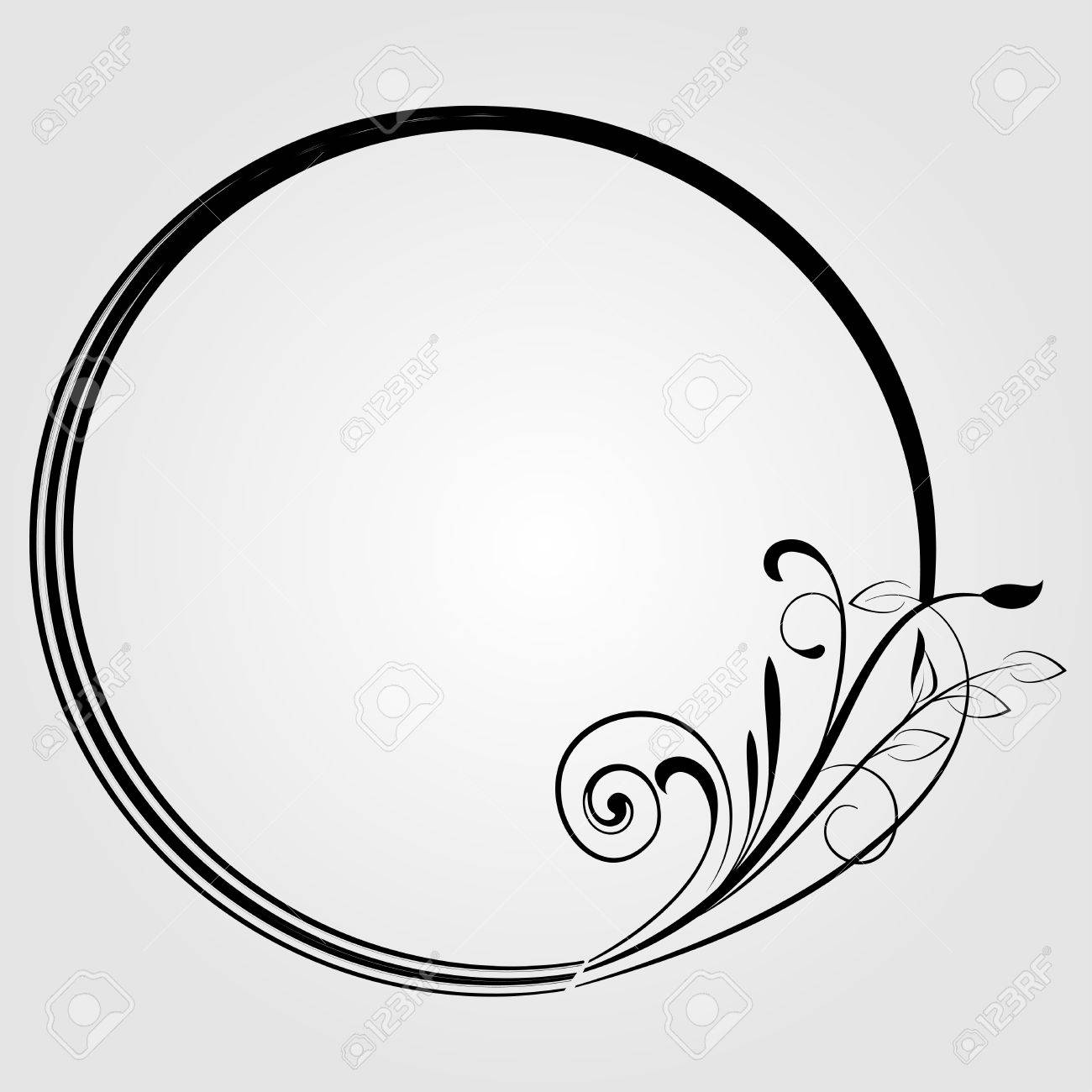 Round frame with decorative branch vector illustration stock - Round Frame With Decorative Branch Stock Vector 23012477