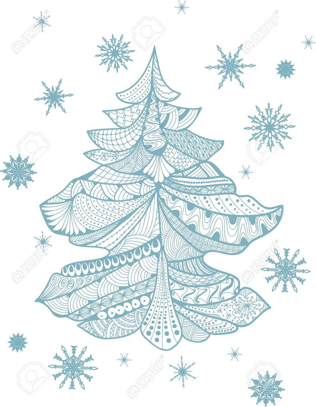 Weihnachtskarte Im Stil. Weihnachtsbaum. Malvorlage Auf Weißem ...
