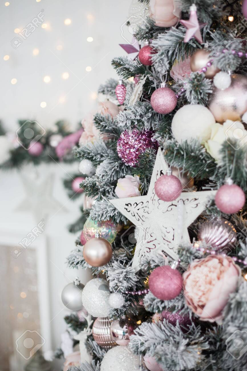 Green And White Christmas Tree With Pink Toys New Year Winter Stock Photo Picture And Royalty Free Image Image 154088969