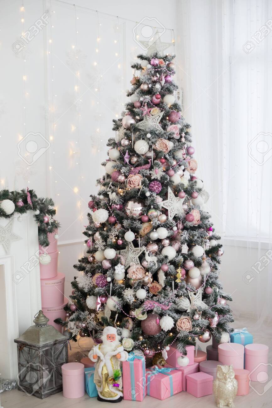 Green And White Christmas Tree With Pink Toys New Year Winter Stock Photo Picture And Royalty Free Image Image 154088974