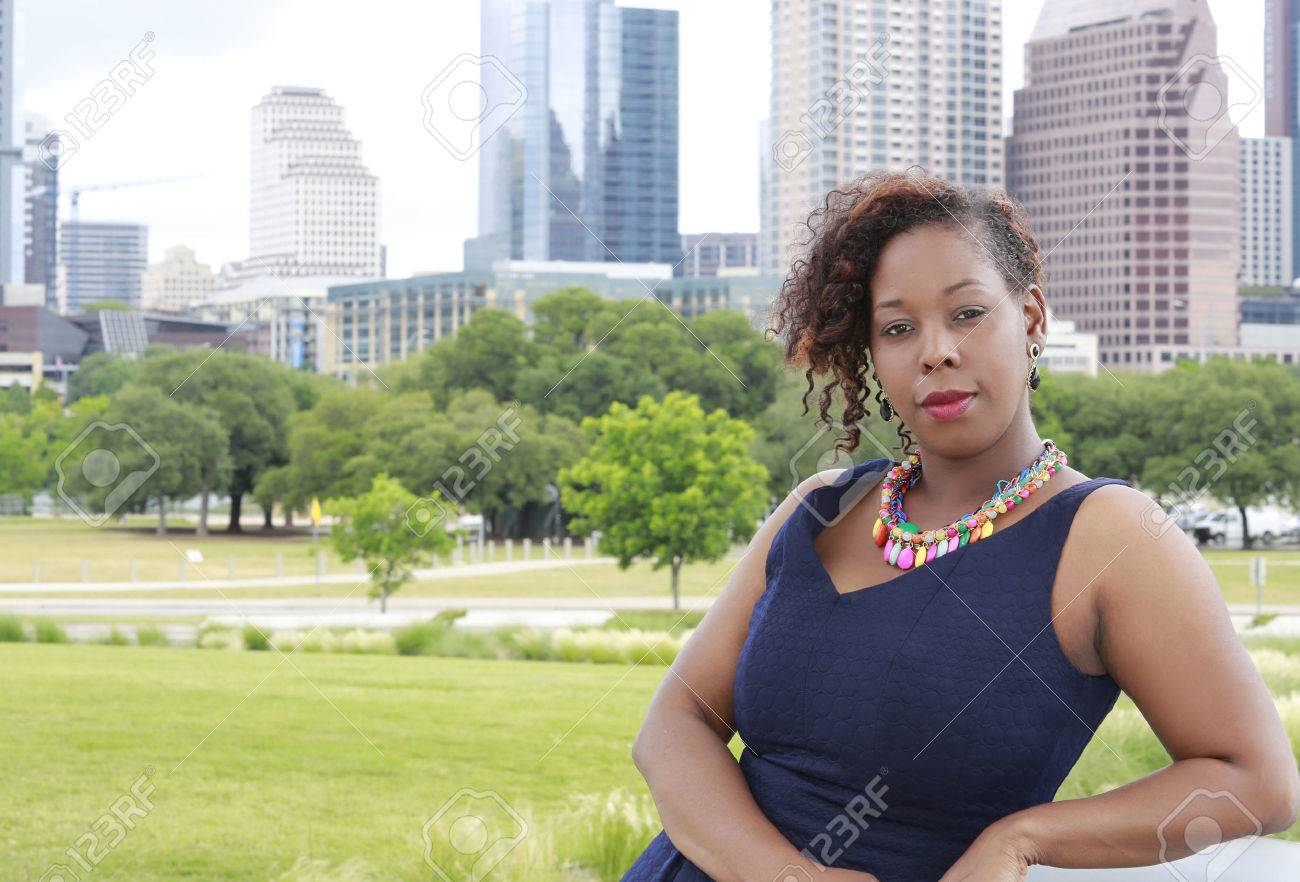 African American woman on Austin Texas cityscape - 39784120