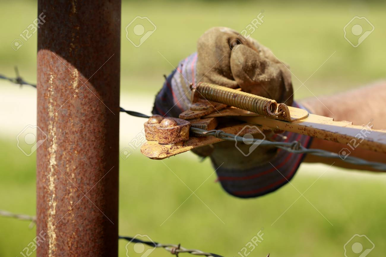 Picture of: Fencing Man Working On Old Barb Wire Farm Fence With Hand Fence Stock Photo Picture And Royalty Free Image Image 75226606
