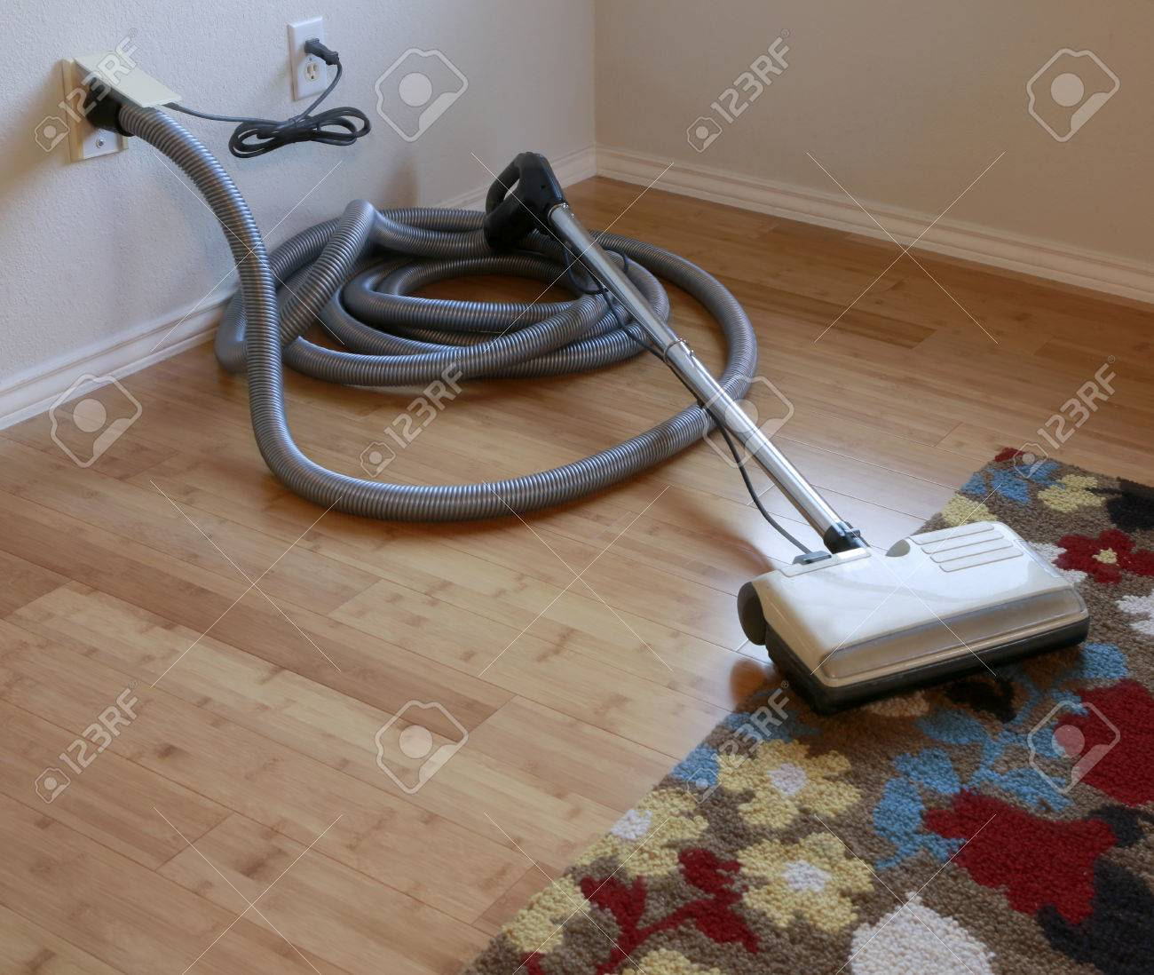 Cleaning Contest Beautiful Bamboo Hardwood Floor And Wool Rug