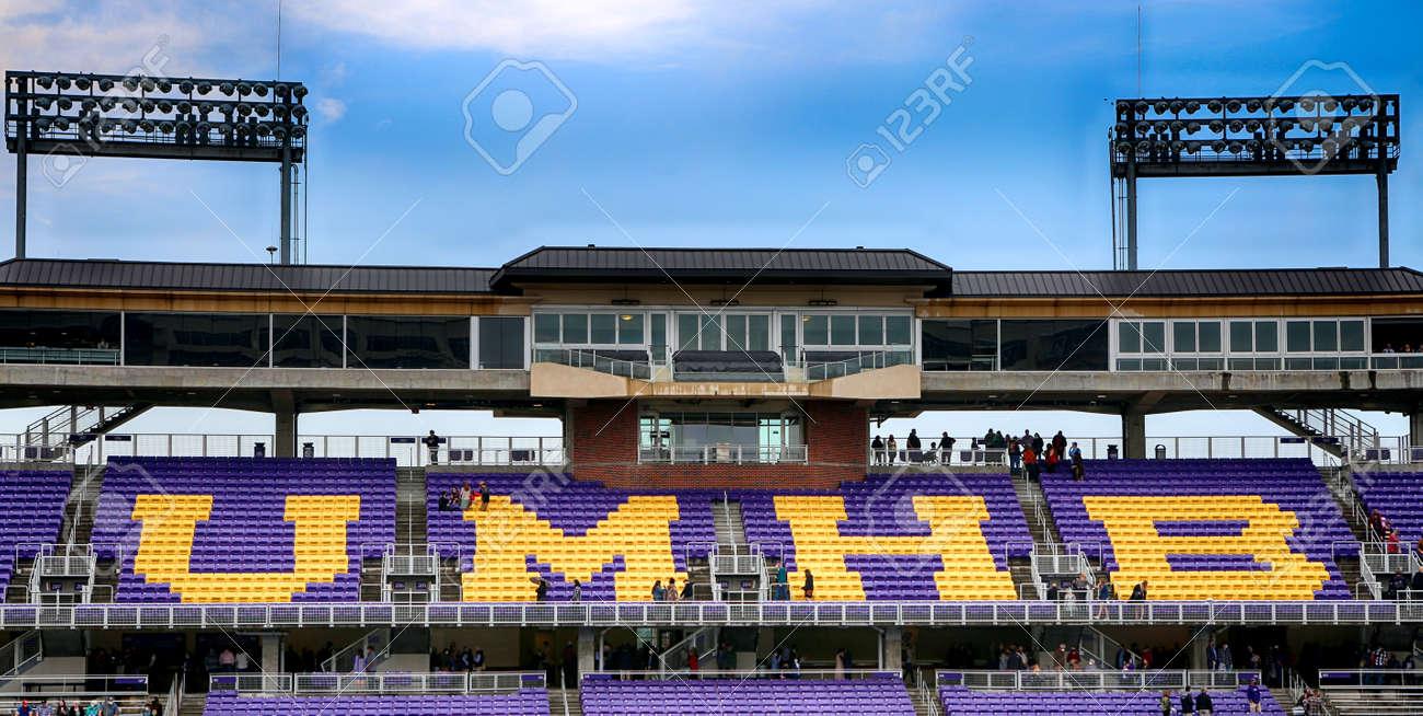 December, 11, 2020, University of Mary Hardin-Baylor, Belton, Texas. Football Stadium before graduation ceremony. - 163534945