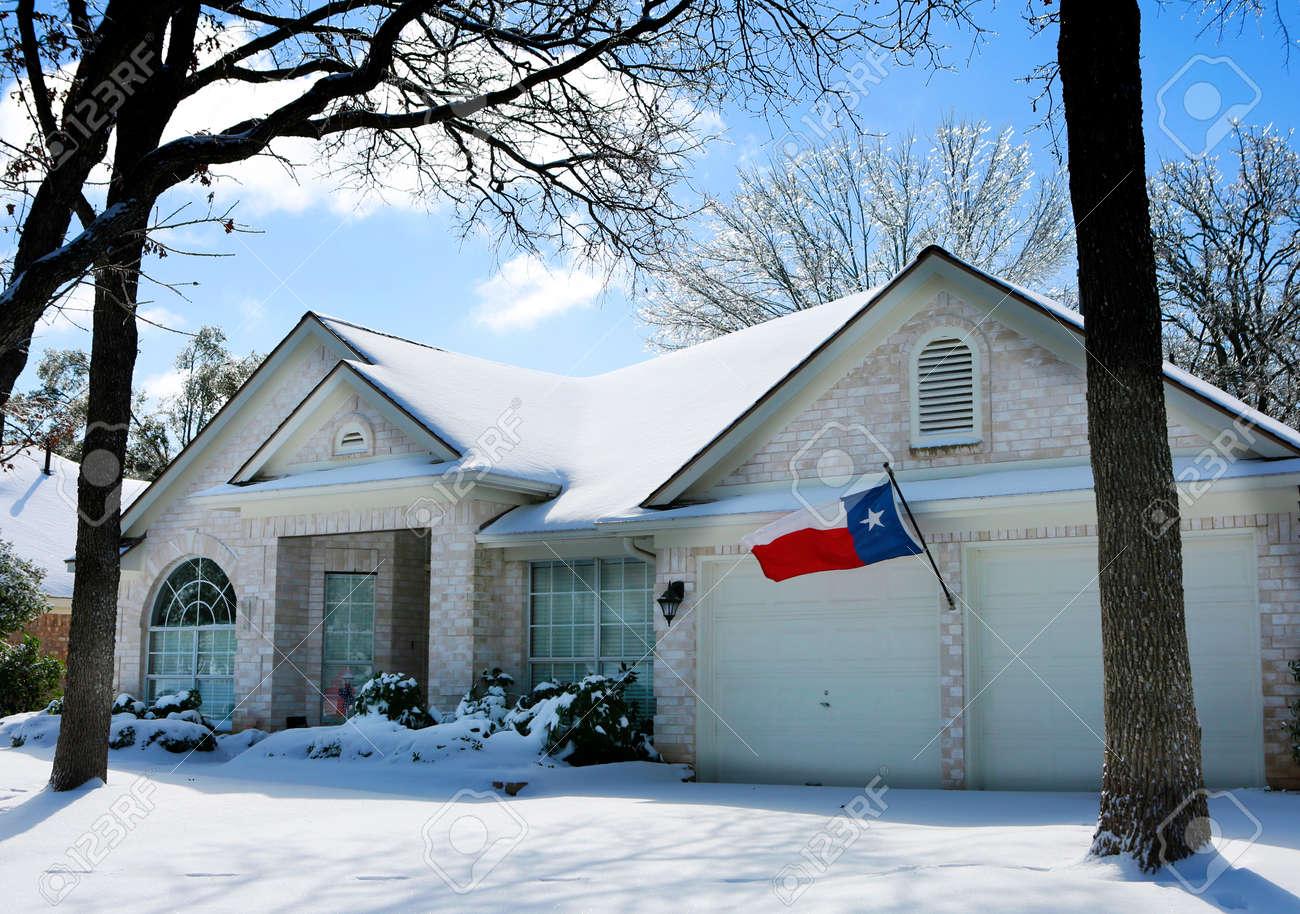 Austin, Texas. Historic Arctic blast, winter storm. House under snow. - 163835491