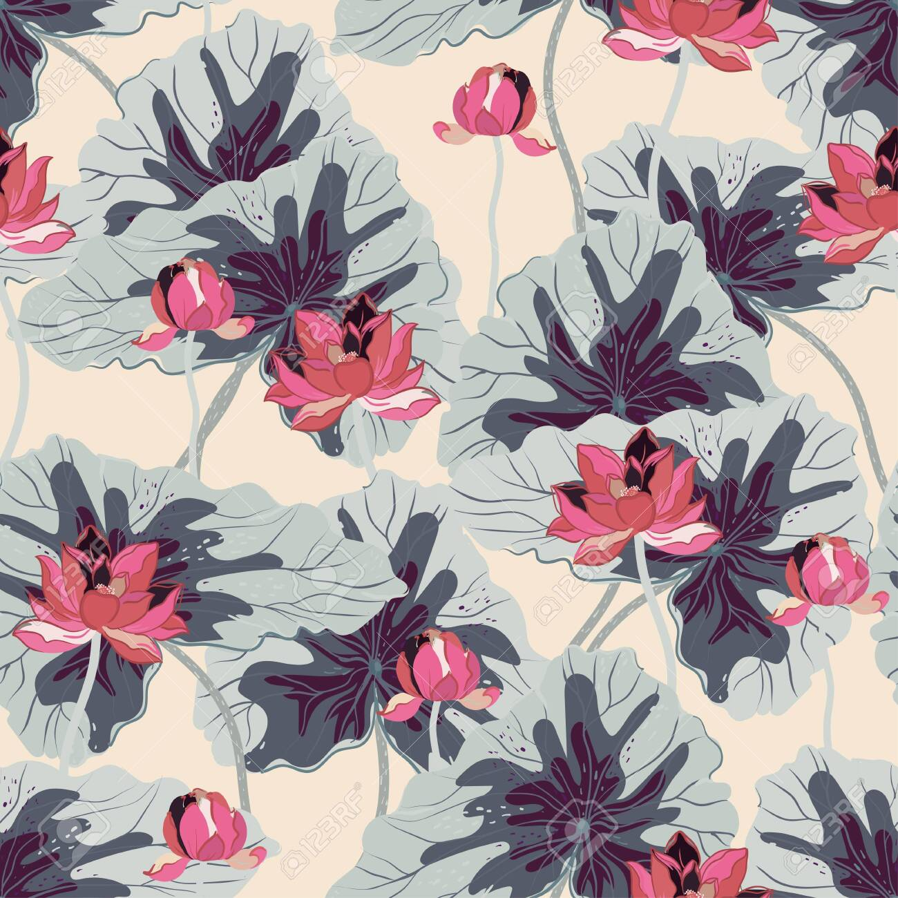Pink lotuses with large light grey leaves on a cream color background. Vector seamless floral pattern. Square repeating design for fabric and wallpaper. - 147307158
