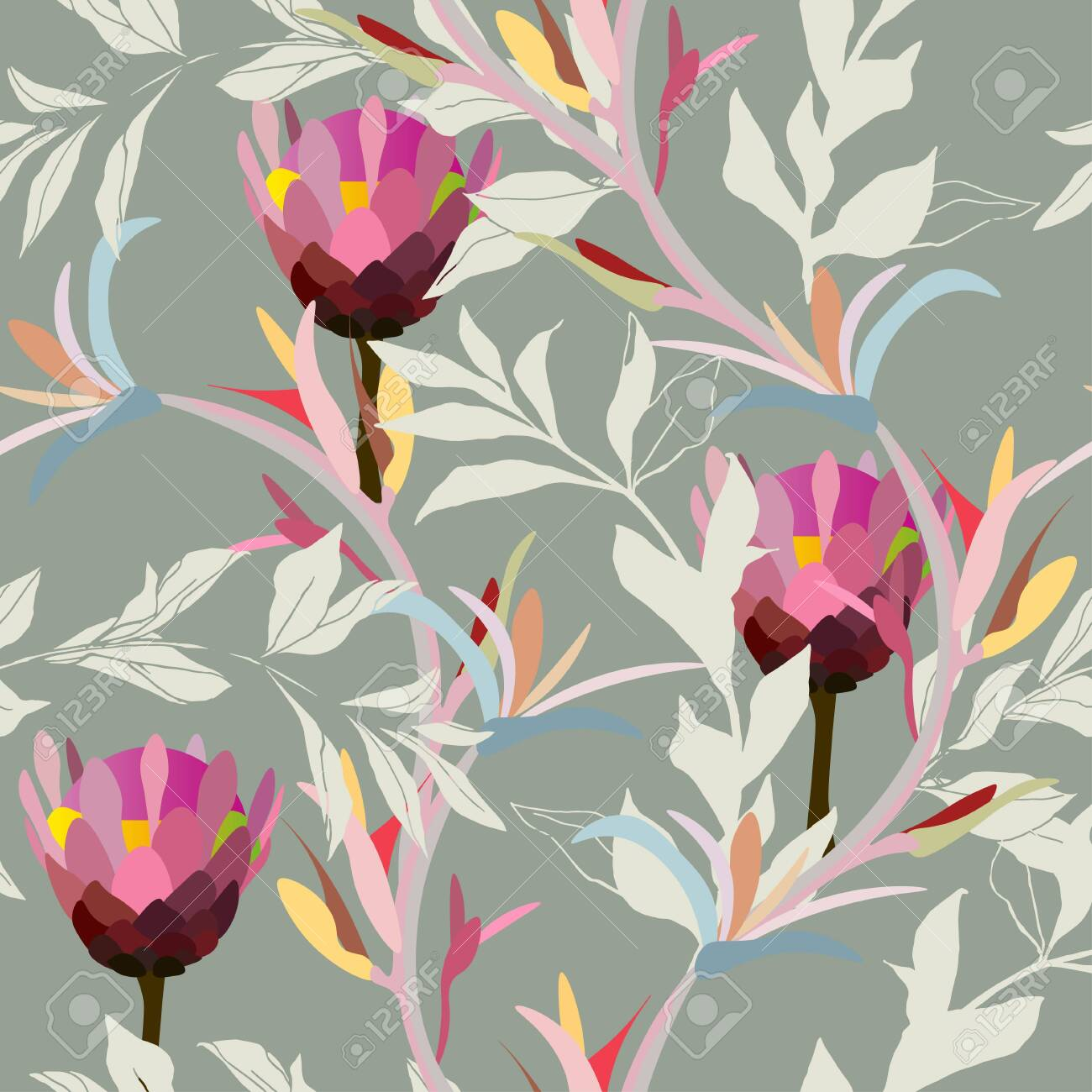 Drawing Of A Pink Protea Flower In Cream Leaves On A Light Gray Royalty Free Cliparts Vectors And Stock Illustration Image 147424536