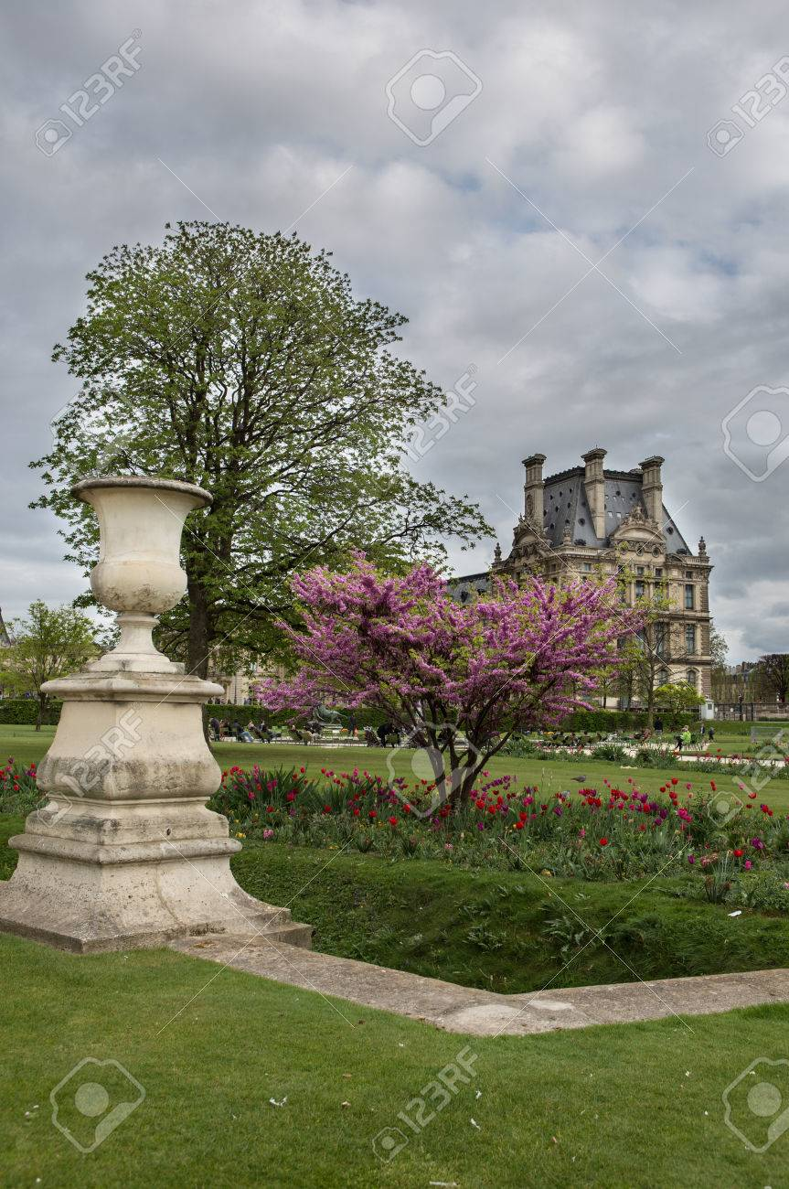 stock photo view to louvre palace from the tuileries garden - Tuileries Garden