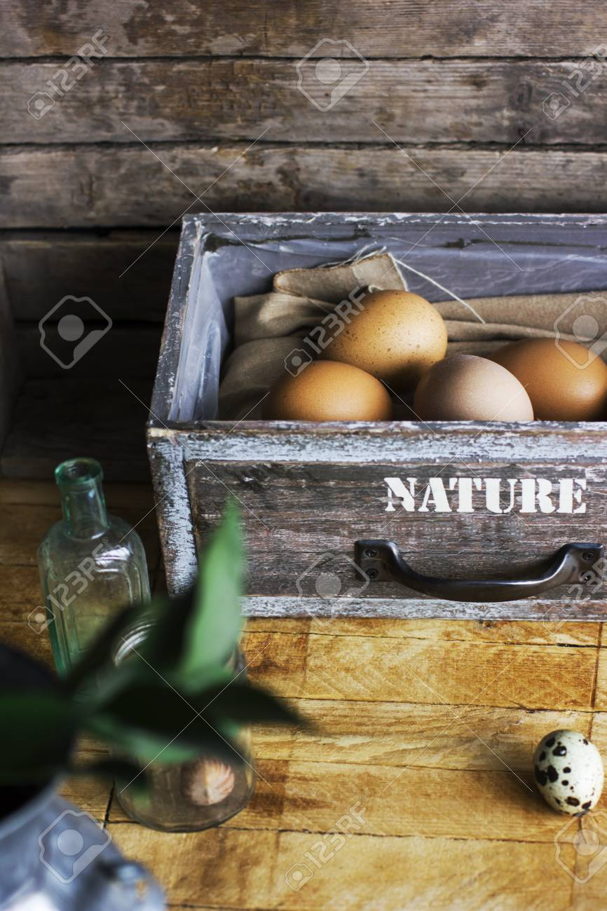 Brown Chicken Eggs In Old Wooden Box Home Farm Stock Photo Picture