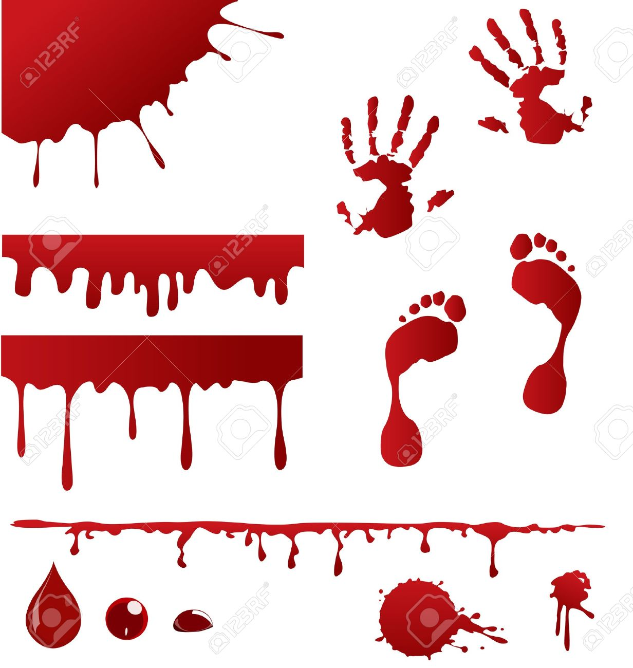 Conjunto De Salpicaduras De Sangre Y Cuatro Que Vierten Sangre ...