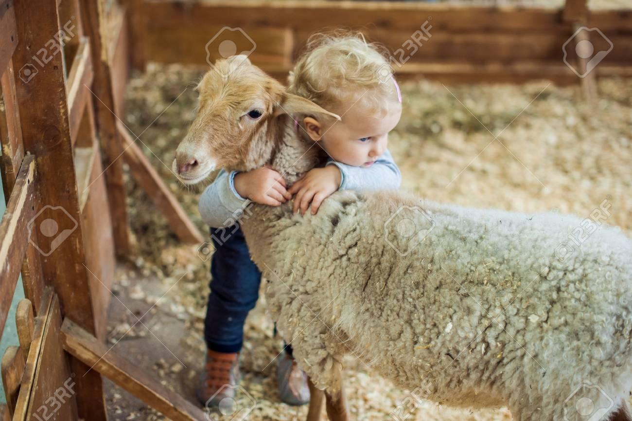 Toddler Girl hugging lamb on the farm - 61691116