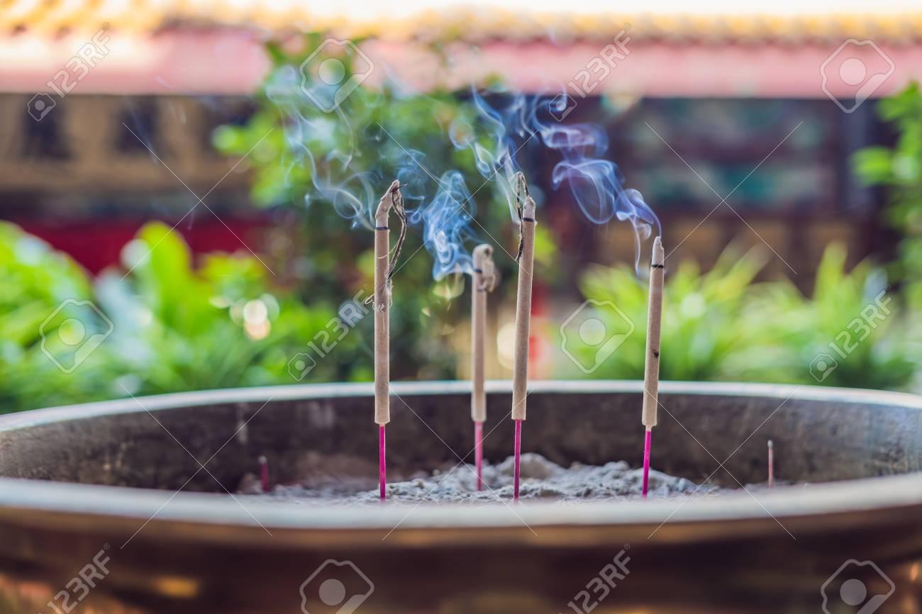 Burning aromatic incense sticks  Incense for praying Buddha or