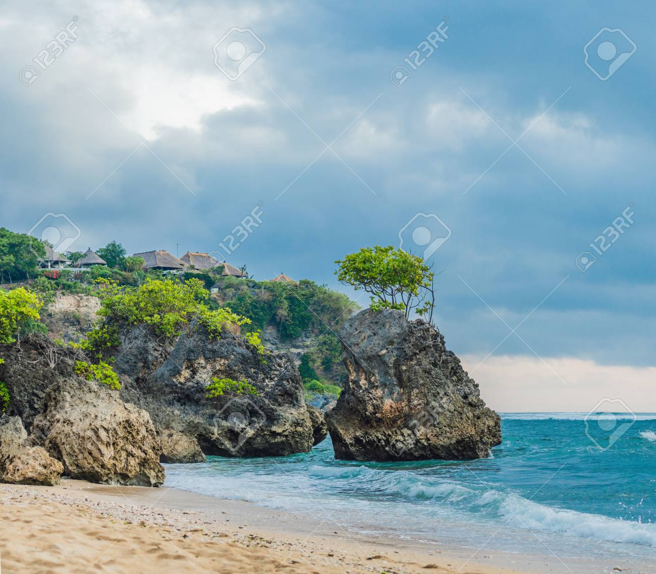 Rocks On Dreamland Beach Bali Island Indonesia Stock Photo Picture