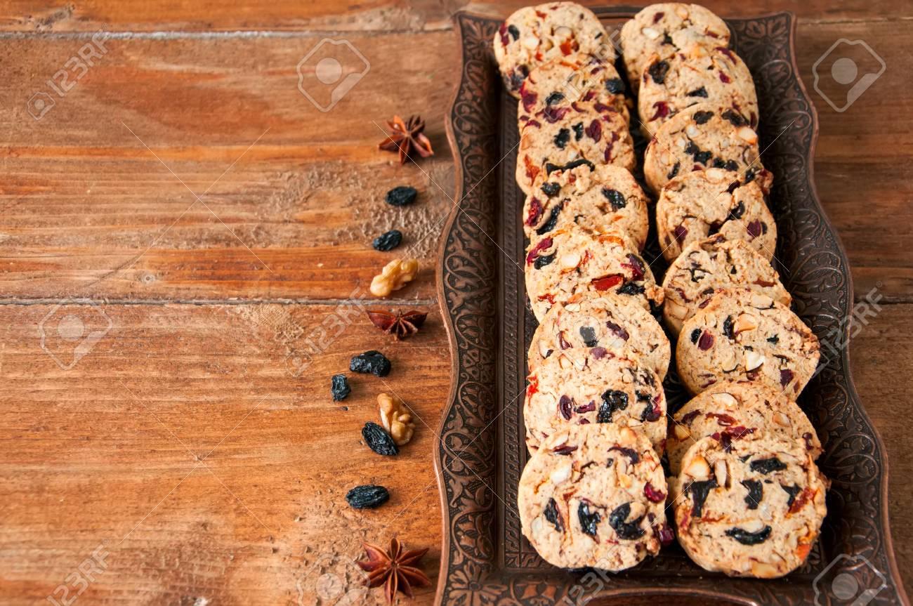 Christmas Cake Cookies On Vitage Plate Fruit Cake Cookies