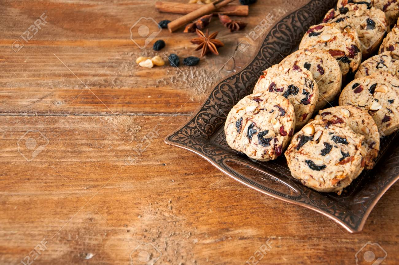 Christmas Cake Cookies On Vitage Plate On Wooden Background