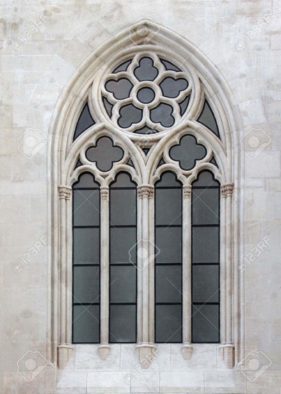 Gothic Style Church Decorated Window Stock Photo