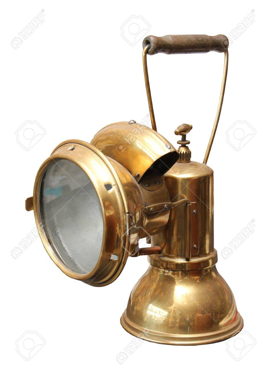Old Copper Miner Carbide Lamp On A White Background. Stock Photo   7095178