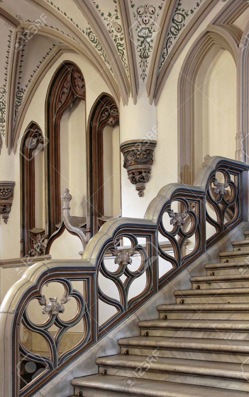 Ornate Mansion Staircase Railing. Stock Photo   42735437