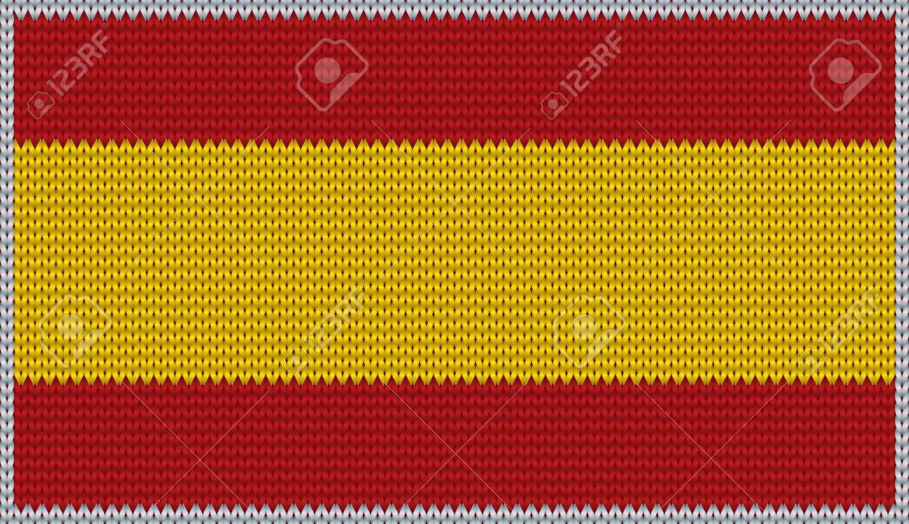 design of knitted badge of spain es esp flag national