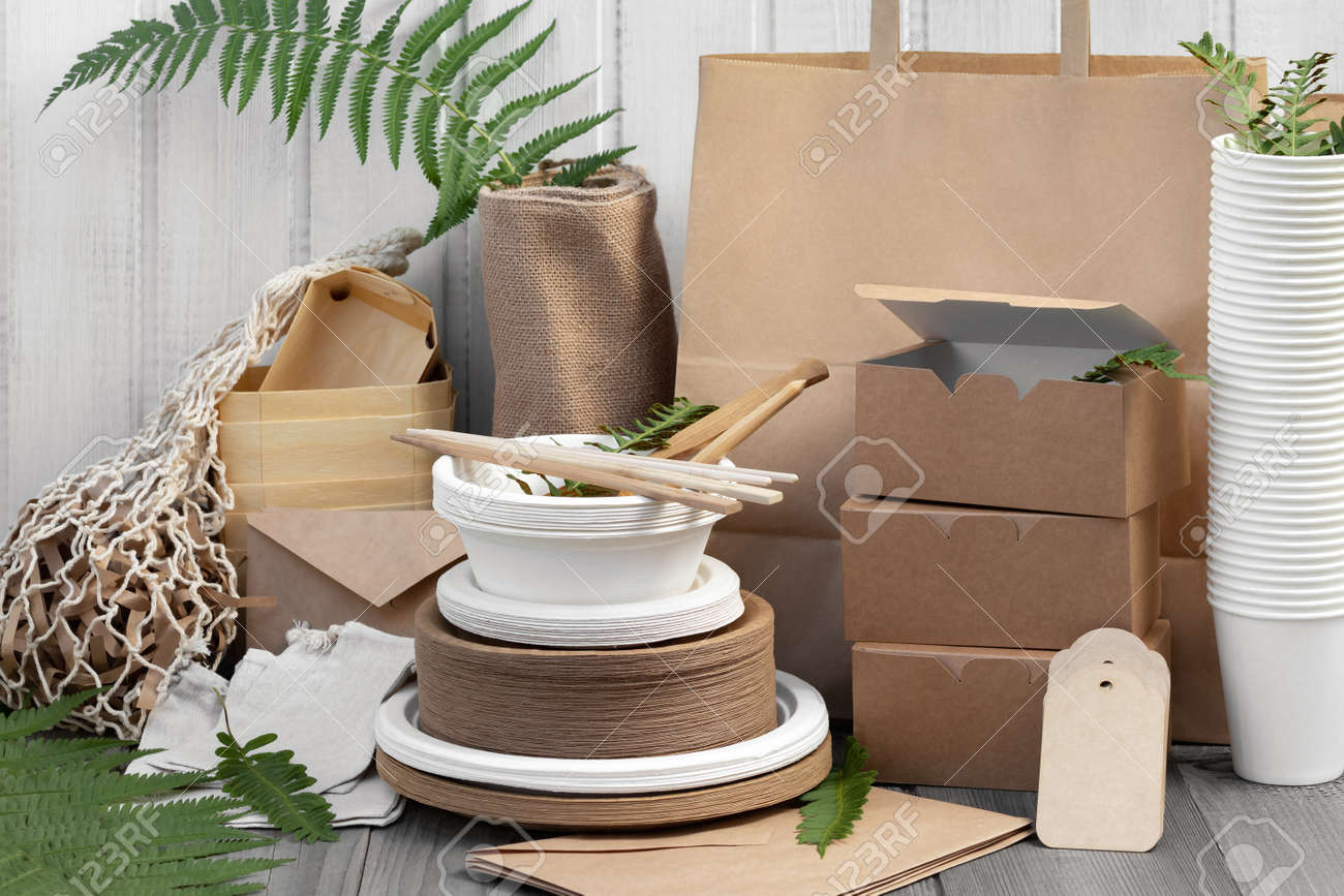 Eco friendly packaging and dishes made from natural recyclable materials. Environmental protection and waste reduction concept - 170577231