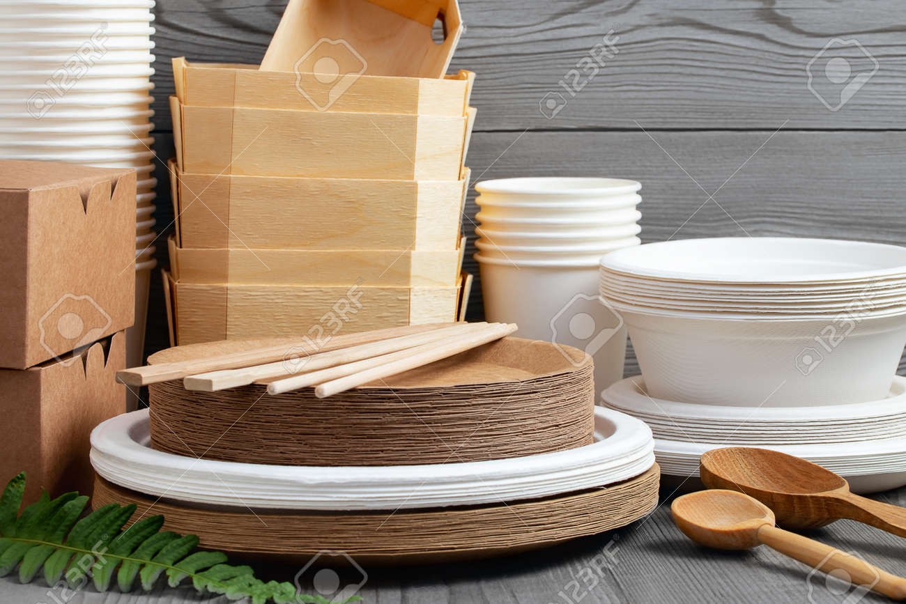 Various Eco friendly tableware made from natural, recyclable materials. Environmental protection and waste reduction concept - 170506808