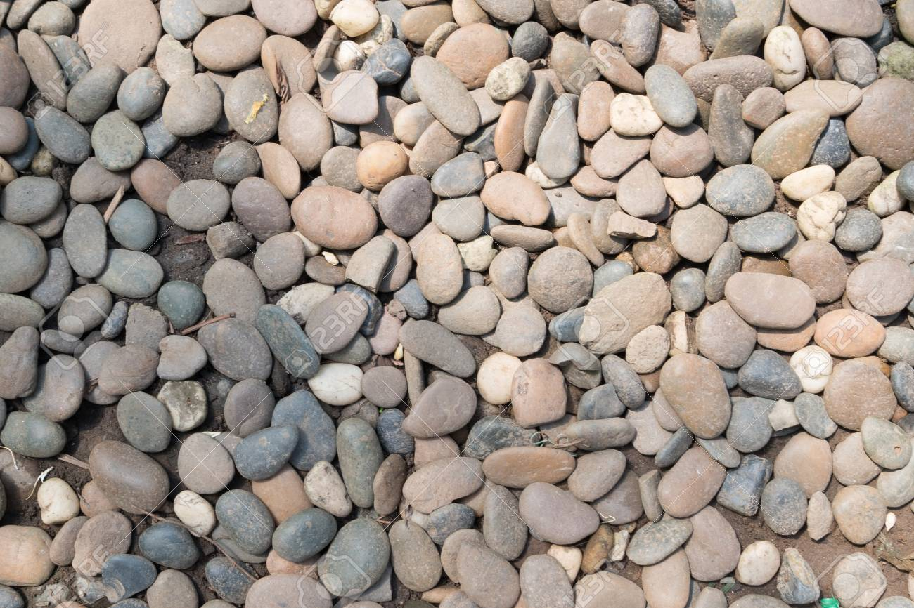 Decorative Stone Pebble Background Round Gravel Texture Garden
