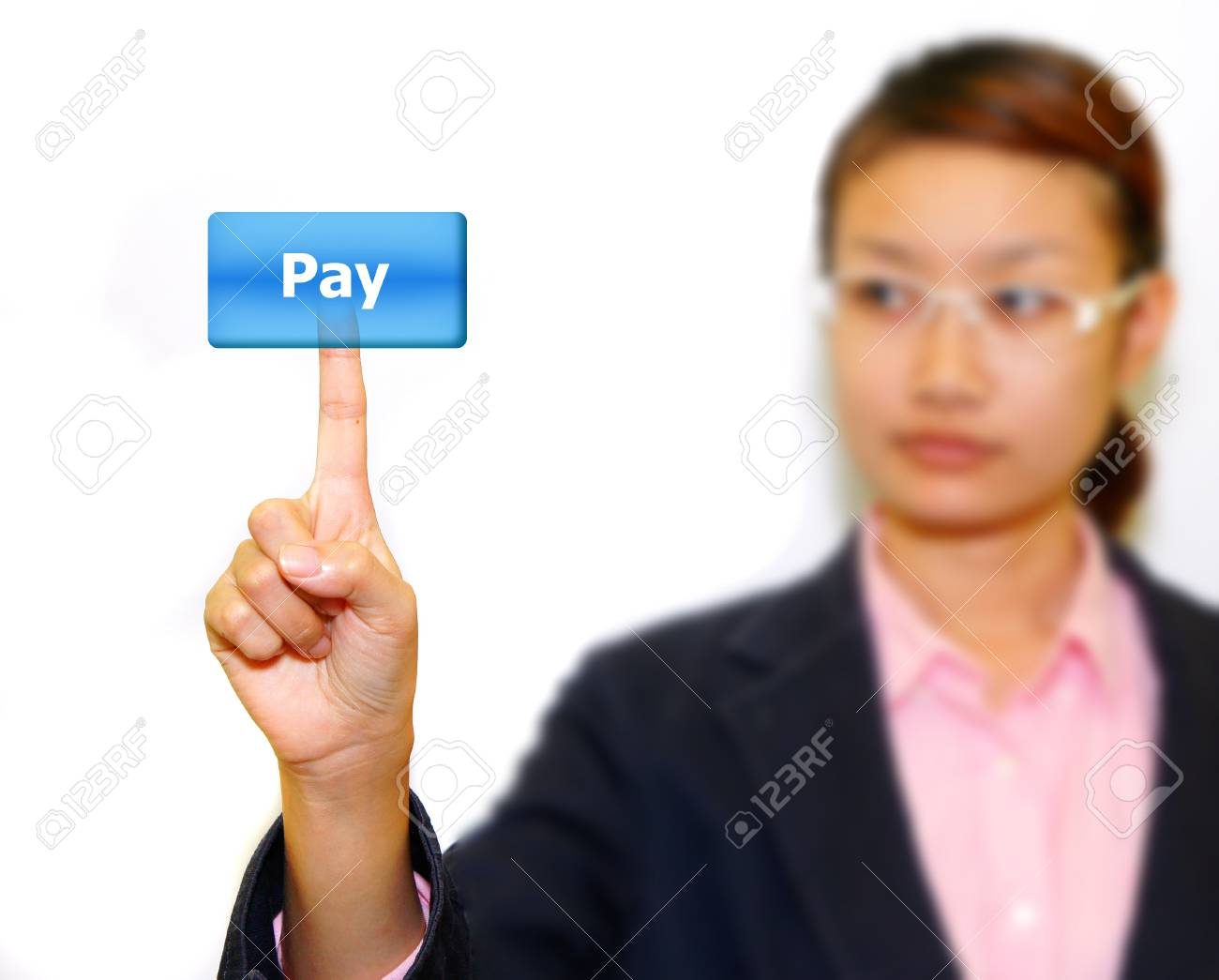 Business woman pushing word. Stock Photo - 10869433