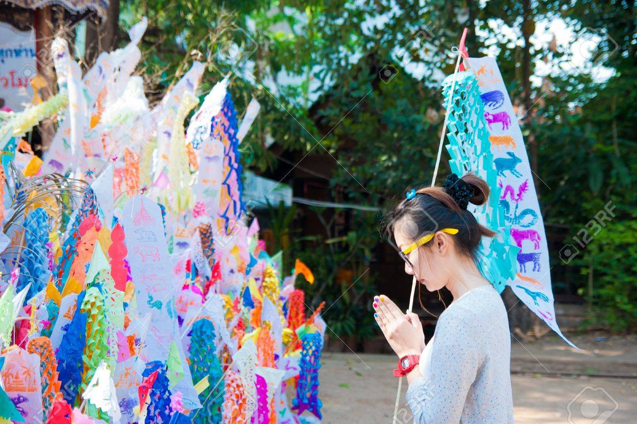 Many Color paper flag in temple of Thailand,For Buddha worship Stock Photo - 13259838