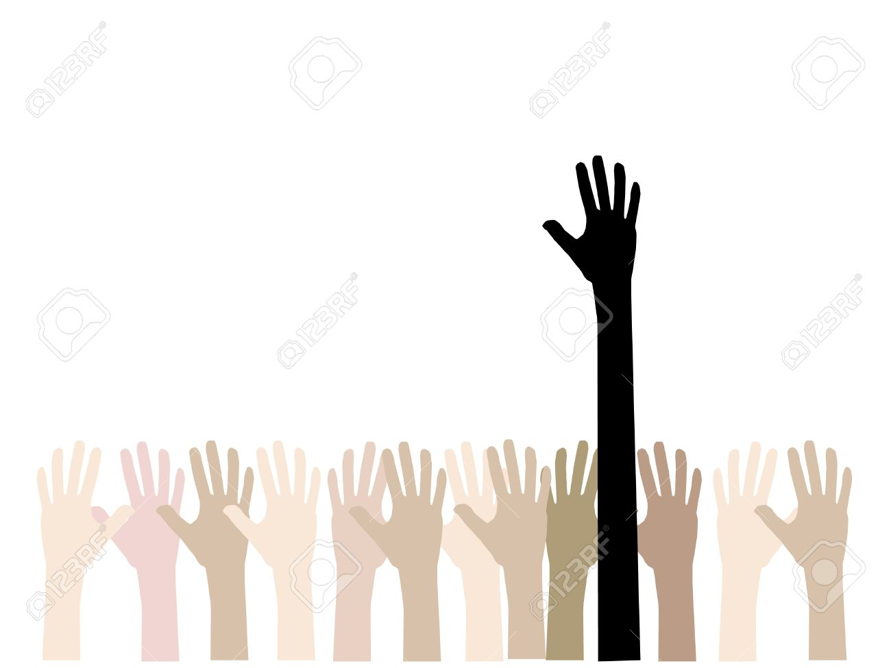 colorful up hand  concept of democracy Stock Vector - 19524458
