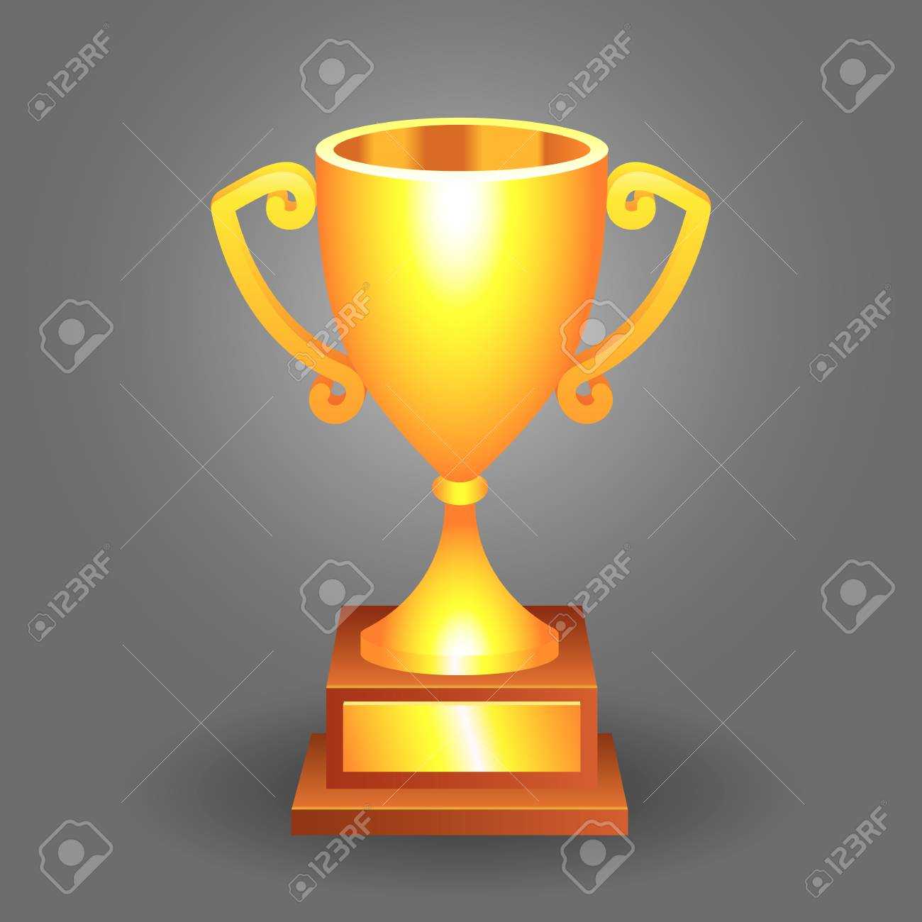 Trophy Bronze Cup On A Dark Background For Your Designs Stock Vector