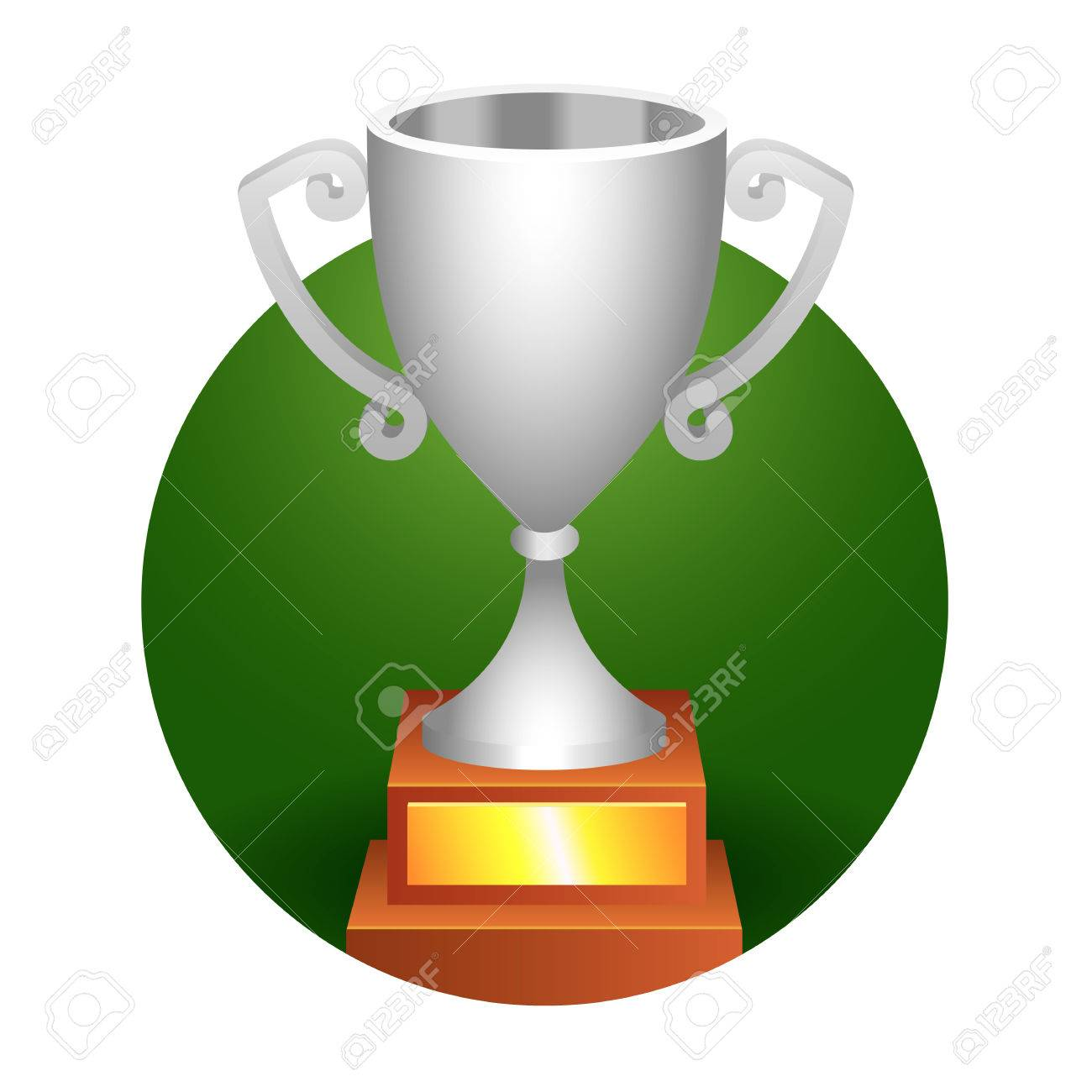 Trophy Bronze Cup On A Green Background For Your Designs Stock Vector